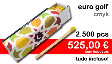 Caixas de fósforos Euro Golf CMYK